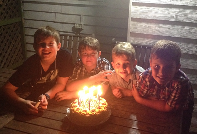 L-R: Jack, Ethan (my nephew), Max and Oscar celebrating Max`s birthday